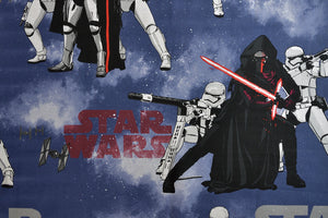 Blue Star Wars Fabric with Storm Troopers and Kylo Ren