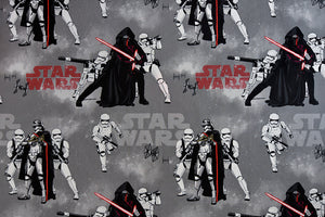 Grey Star Wars Fabric with Storm Troopers and Kylo Ren