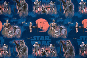 Blue Star Wars Fabric - Chewbacca, C-3PO, R2-D2