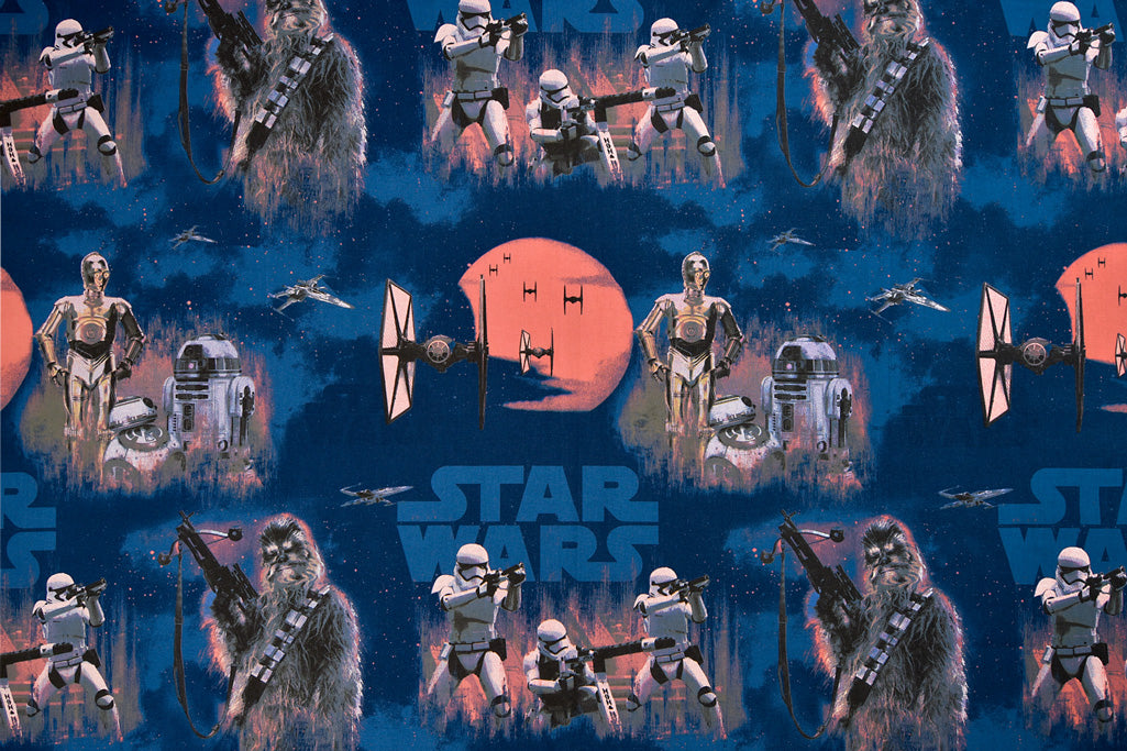 Grey Star Wars Fabric - Chewbacca, C-3PO, R2-D2