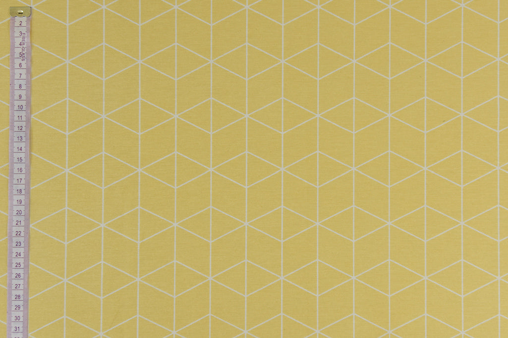 Geometric Graphic Design Fabric -Yellow with White