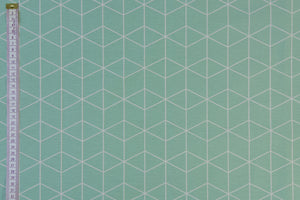 Geometric Graphic Design Fabric - Green with White.