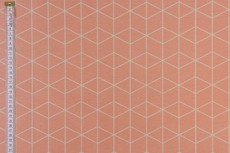 Geometric Graphic Design Fabric - Salmon with White.