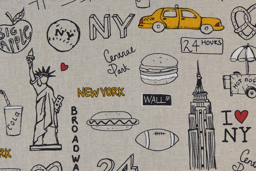 New York Fabric - Sketches of the Famous Tourist Attractions