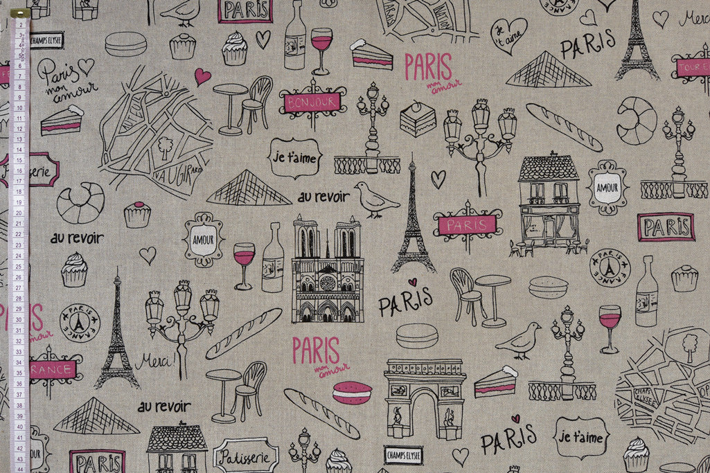 Paris Fabric - Sketches of Famous Tourist Attractions