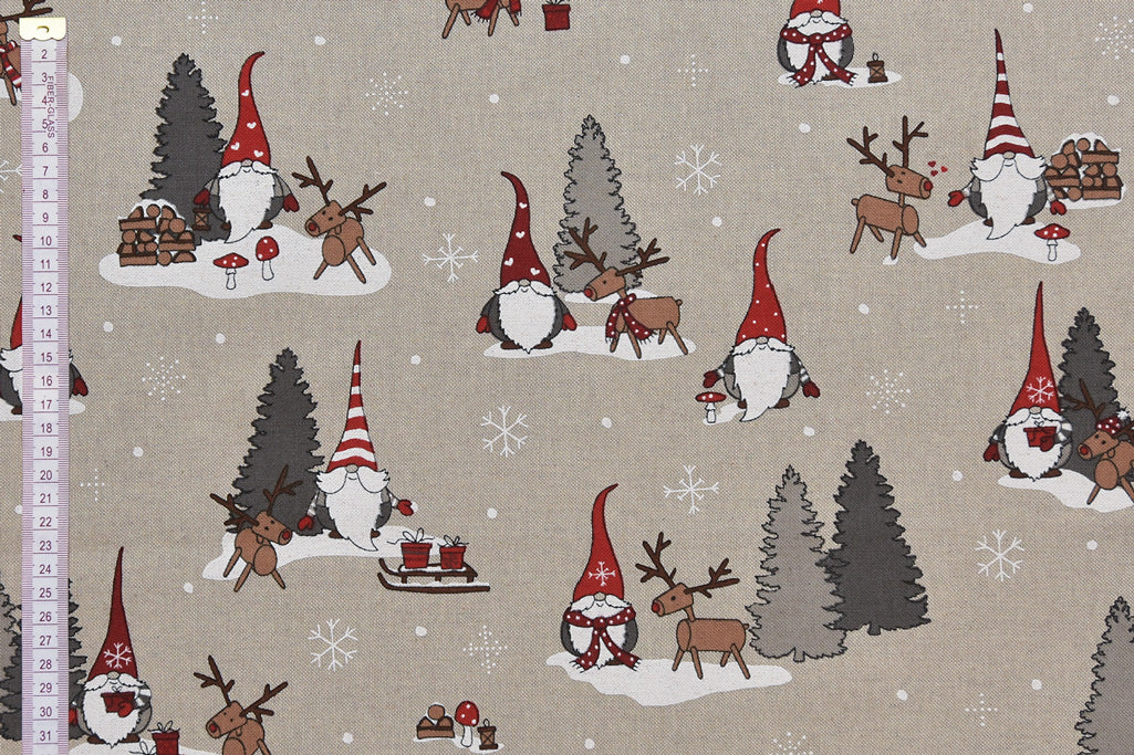 Wooden Reindeers with Santa Christmas Fabric - Fun Childrens Fabric