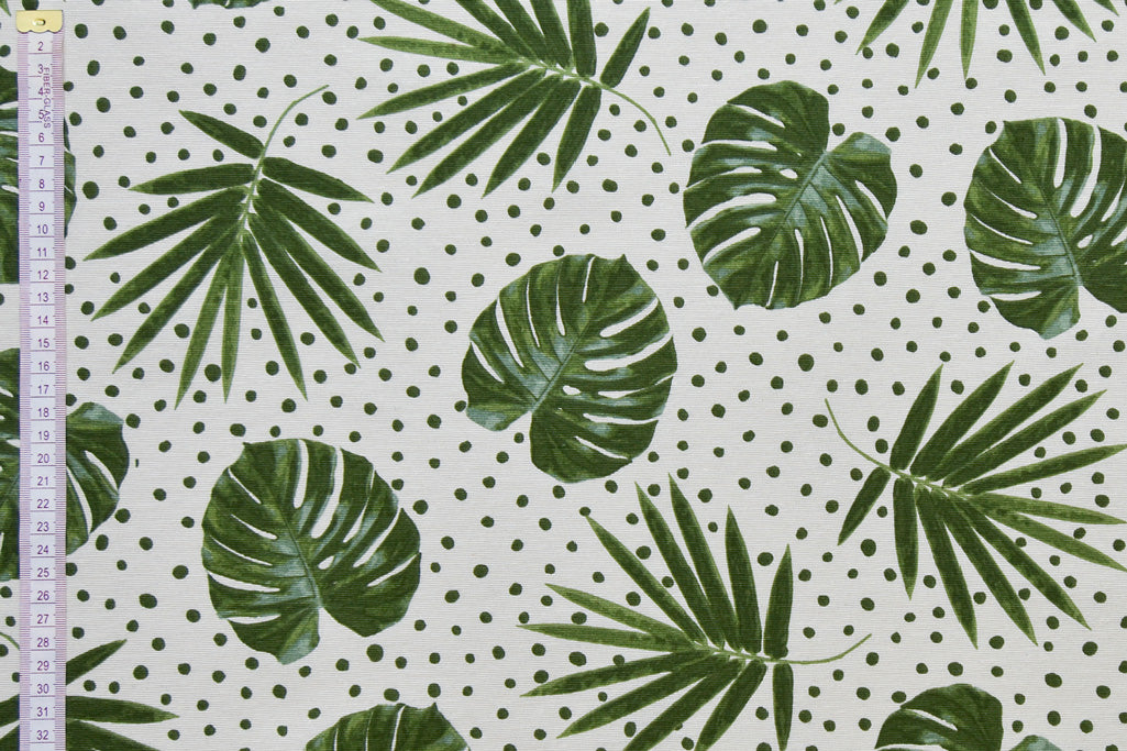 Spot Tropical Palm Leaves Fabric - White & Green, Mixed Cotton