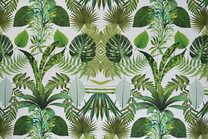 Tropical Green Leaves Fabric - Palm Leaf. 100% Cotton Digital Print