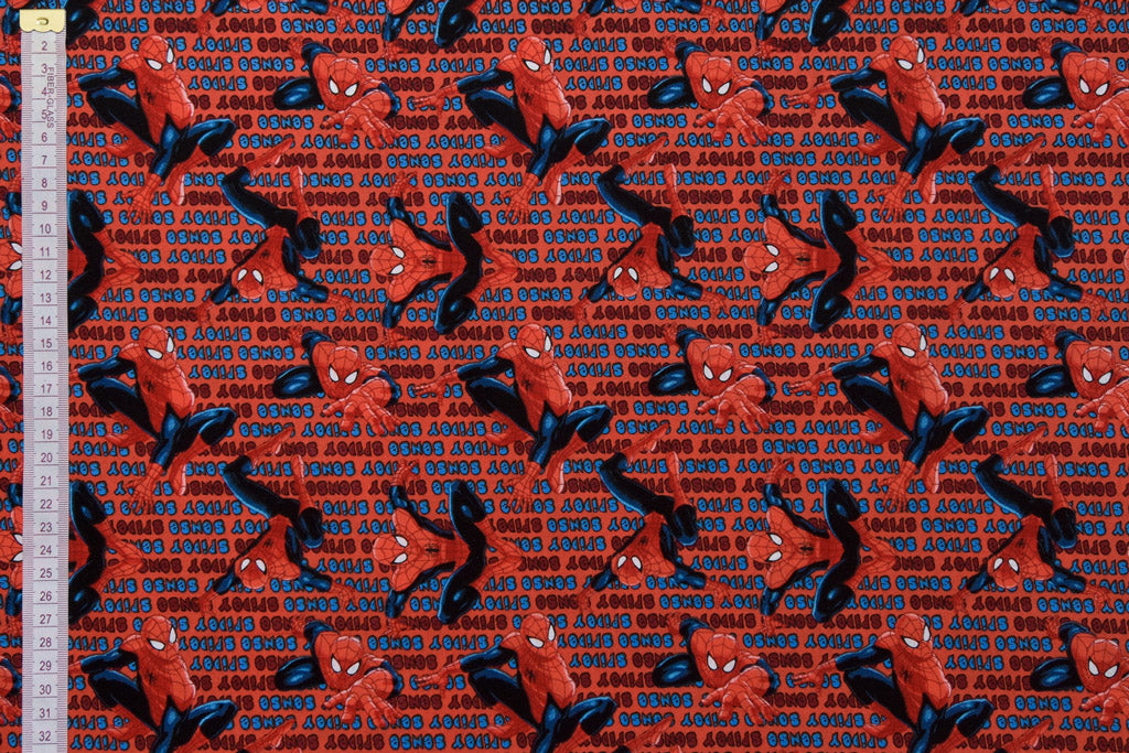 Red Spiderman Fabric - Spidey Sense. 100% Cotton, Quilting Fabric