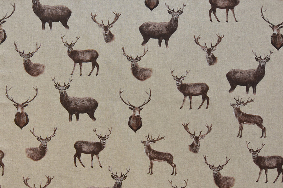 Stag Deer Linen Feel Fabric - Quality Mixed Cotton