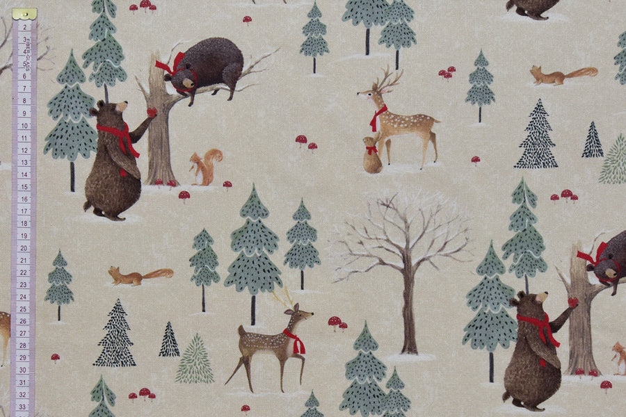Winter Wonderland Animal Christmas Fabric - Bears & Deer