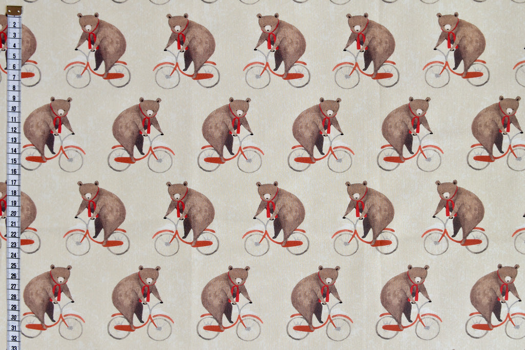 Cute Bears on Bicycles - Delicate Cotton Digital Print Fabric