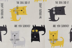 Cats with Attitude Fabric - Yellow, Black & Grey Cats Surrounded by Funny Quotes
