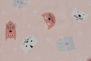 Cute Coloured Cat Faces on a Salmon Pink Background
