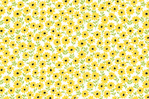 Daisies Fabric - White. Small Yellow Daisies on a White Background. From the Sunny Bee Collection by Makower.
