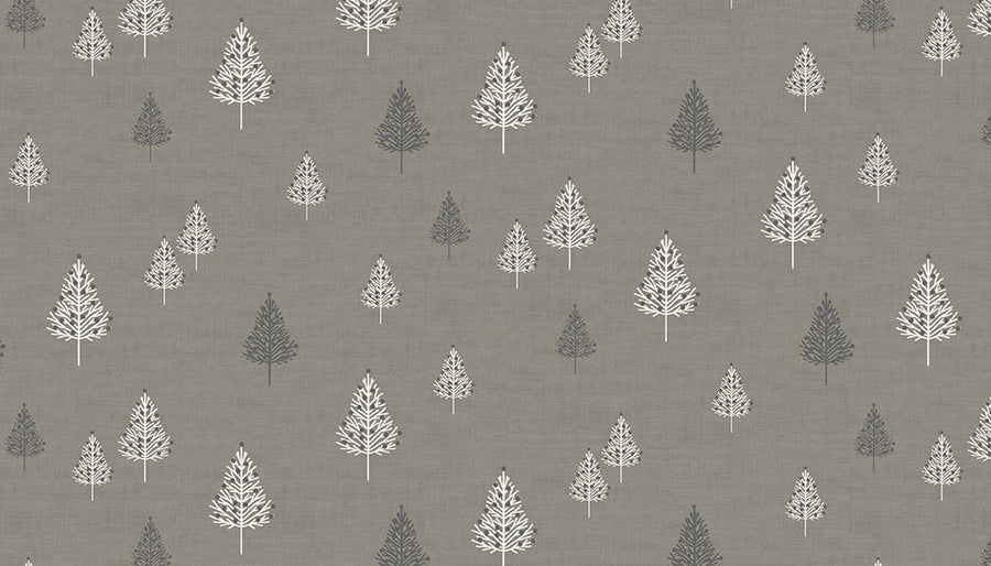 Grey Christmas Trees Fabric - Modern Look White and Grey Trees. 100% Cotton Quality Quilting Fabric