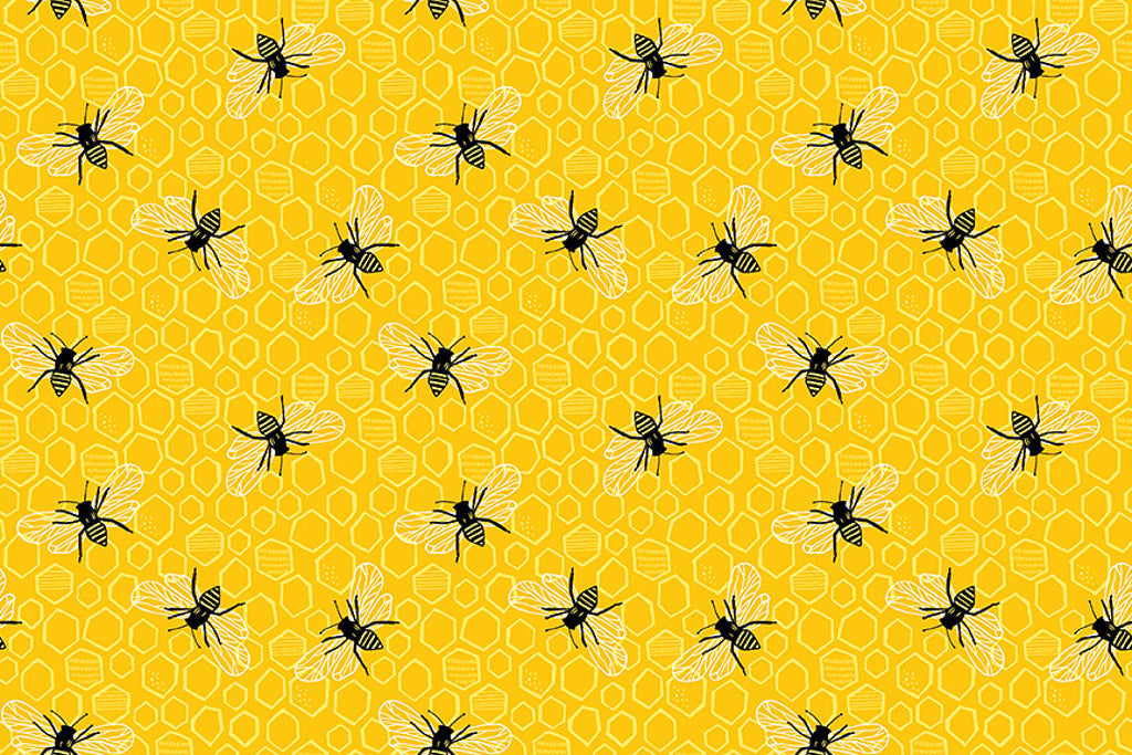 Honey Bees Fabric. From the Sunny Bee Collection by Makower. Bees and Honeycomb on a bright Yellow/Orange Background