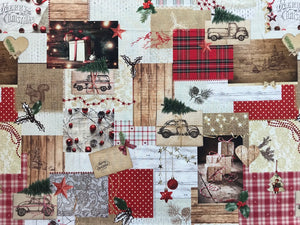 Christmas Fabric - Collage of a Traditional Christmas Holiday