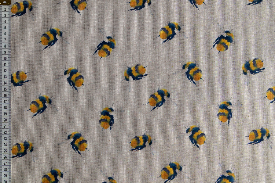 Bumble Bee Fabric - Bees on a Linen Look Beige Fabric