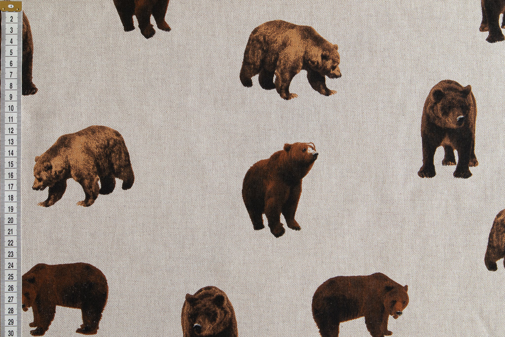Brown, Grizzly Bears - Linen Look Farbic