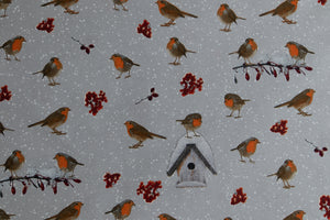 Christmas Winter Robins - Grey Background
