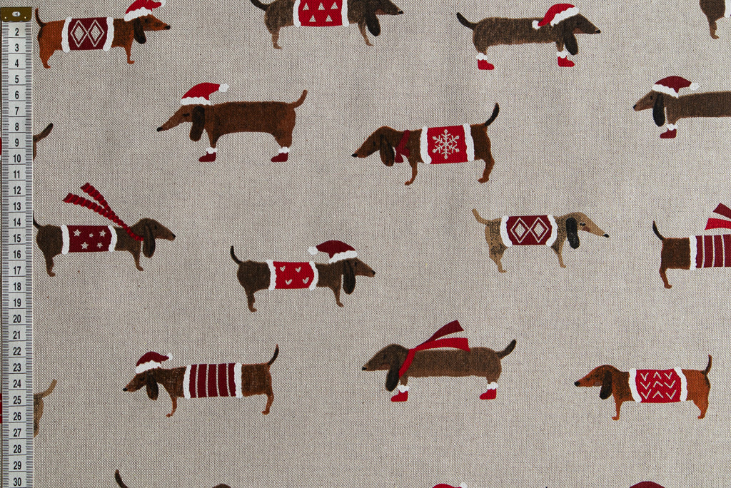 Cute Christmas Dacshund Fabric - Beige Background, Linen Look Fabric