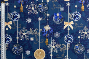 Christmas Midnight Blue Fabric - Luxury Design with Baubles in Blue & Gold