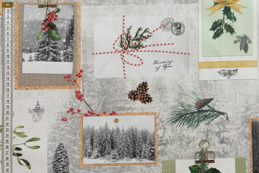 Classic Christmas Fabric - Winter Scene, Postcards & Pine Cones