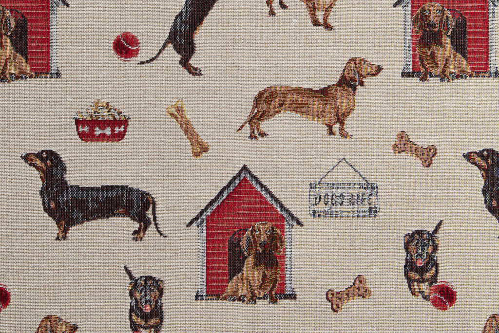 Dachshunds Play, Woven Fabric