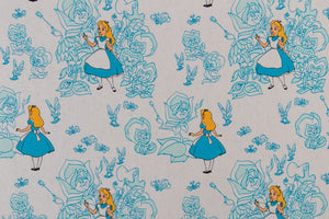 Disney Alice in Wonderland Fabric - Blue and White. Alice with the Live Flowers