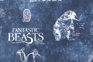 Fantastic Beasts Fabric - Harry Potter. Blue Background