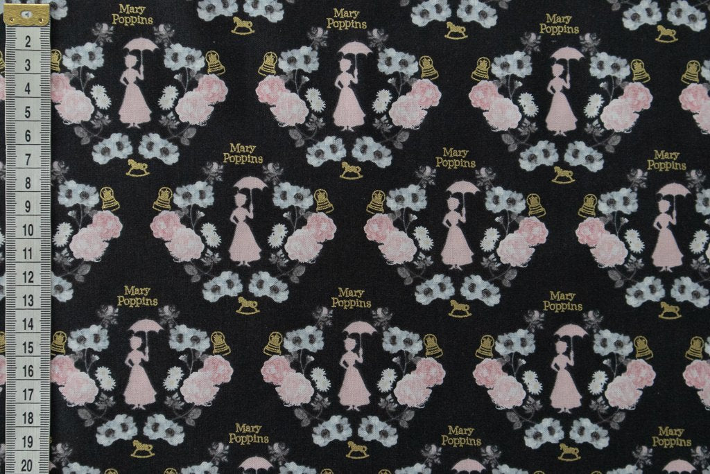 Disney Mary Poppins Fabric. Metallic & Black. Elegant Design.