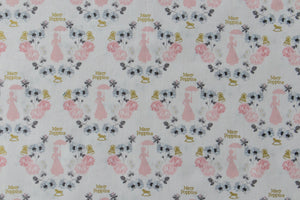 Metallic and White Mary Poppins Fabric - Elegant Design