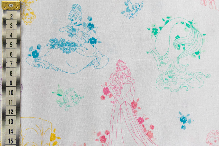 Disney Princesses Forever - Pastel Outlines of Bell, Ariel, Rapunzel, Cinderella, Aurora and Snow White