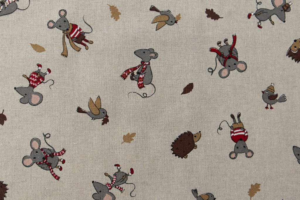 Winter Friends - Christmas Fabric. Mice & Hedgehogs