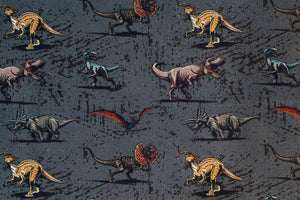 Jurassic World Fabric - Dinosaurs, T-Rex. Grey Background