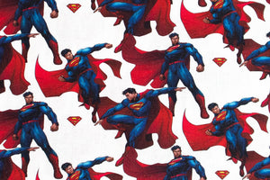 Small Superman Fabric - 100% Cotton, Cream Background