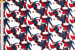 Small Superman Fabric - 100% Cotton, White Background