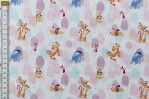 Winnie the Pooh Fabric - Friends. White Background with Pink and Purple. Pooh, Tigger, Eeyore and Piglet. 100% Cotton