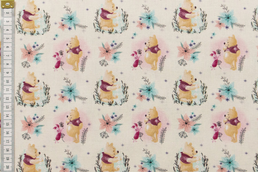 Winnie the Pooh Fabric - Flowers. Cream Background. Pooh and Piglet. 100% Cotton
