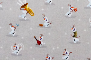 Disney Olaf from Frozen Fabric. Grey Background. 100% Cotton. Quilting and Crafts.