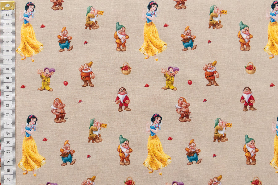 Disney Snow White and the Seven Dwarfs Fabric. Beige Background. 100% Cotton. Quilting and Crafts