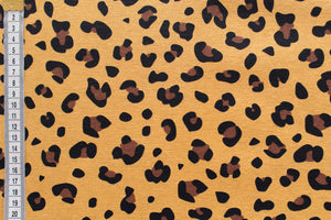 Mustard Leopard Print Fabric - Mustard Yellow Background, Brown and Black Print.