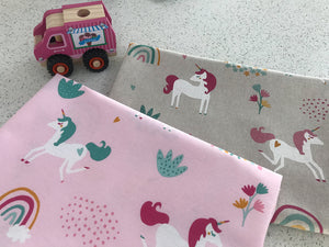 Unicorn Rainbows Fabric - Fun Children's Design. Either on a Pink Background or a Linen-Look Fabric.