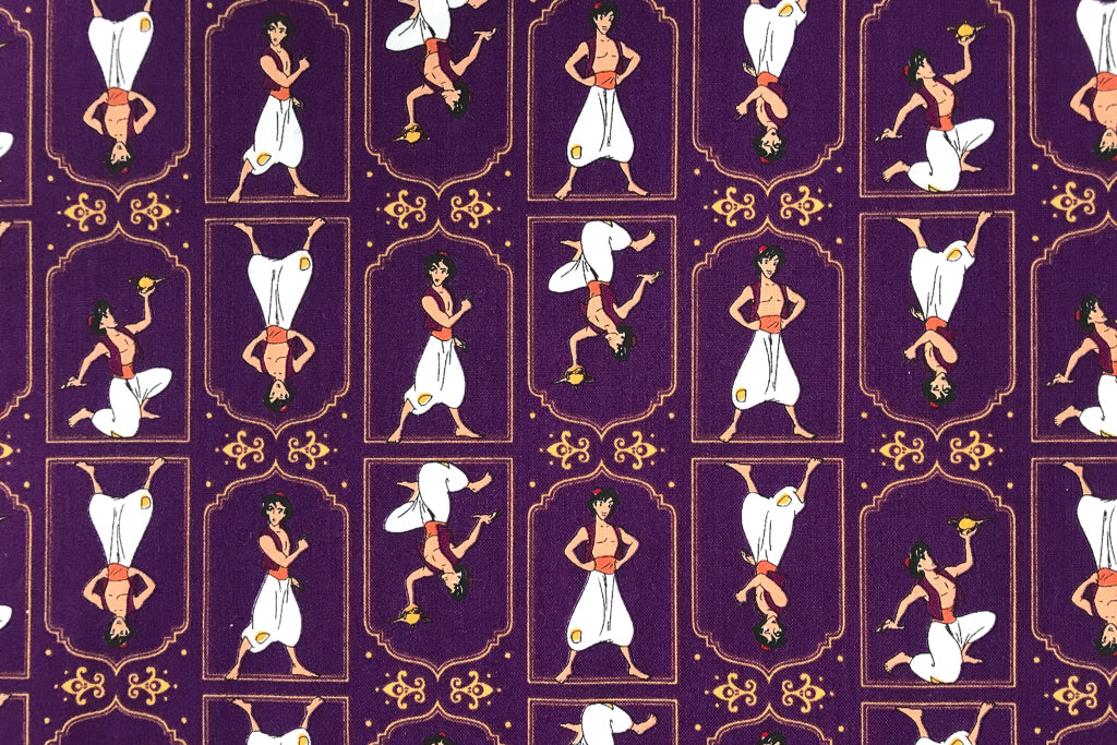 Disney Aladdin Fabric - Purple. 100% Cotton. Quilting and Crafts.