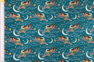 Disney Aladdin Fabric - Teal. Flying Carpet with Jasmine. 100% Cotton. Quilting and Crafts.