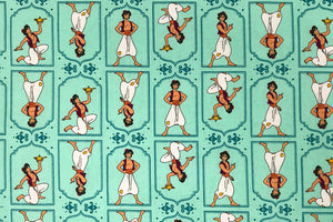 Disney Aladdin Fabric - Light Teal. 100% Cotton. Quilting and Crafts.