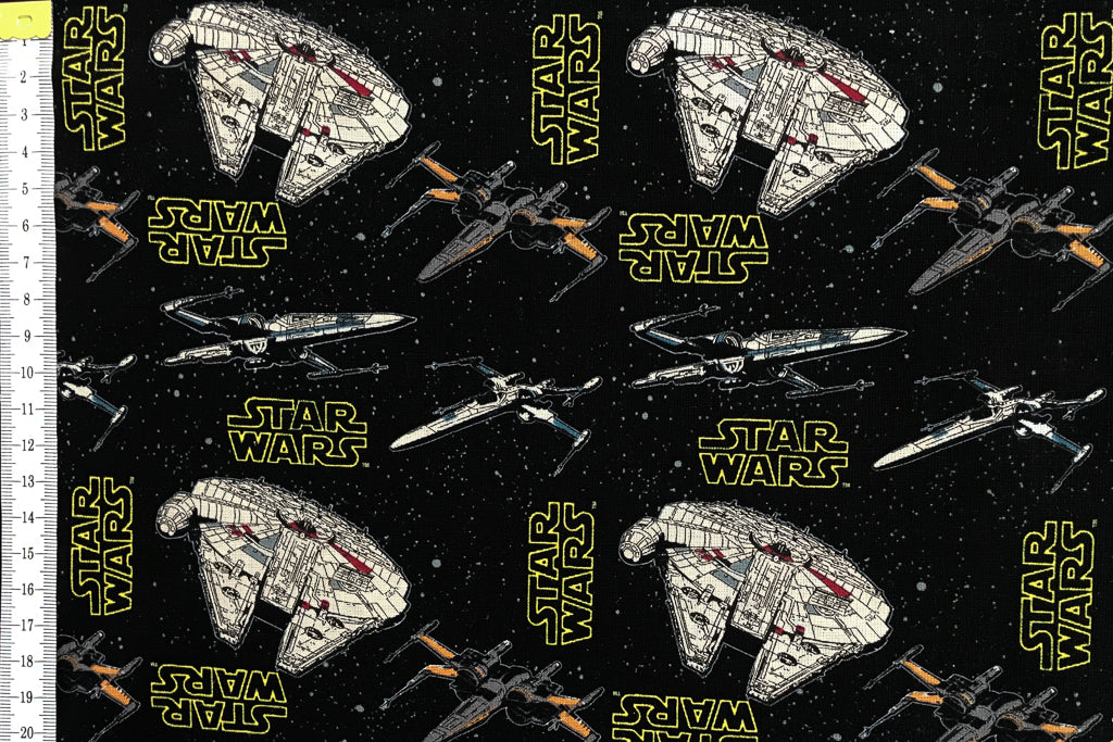 Star Wars Fabric - Millennium Falcon. Rebel fighters and X-wing fighters. 100% Cotton. Quilting and Craft.