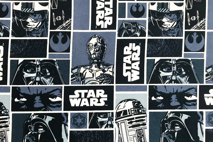 Star Wars Fabric - Classic Blue. Darth Vader, R2-D2, C-3PO, Luke Skywalker