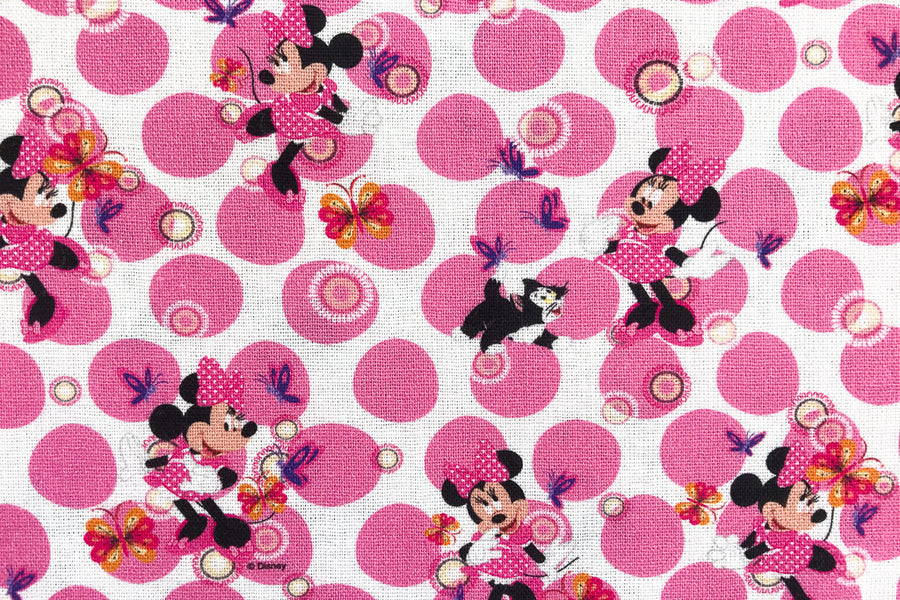 Disney Minnie Mouse Fabric - Pink Polka Dots. Minnie with Figaro the Cat and Butterflies. 100% Cotton.